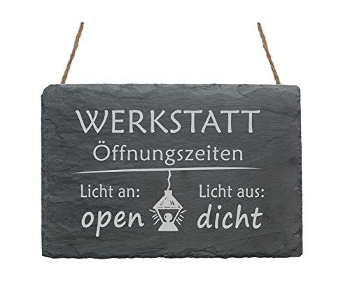 Schiefertafel « WERKSTATT ÖFFNUNGSZEITEN » Größe ca. 22 x 16 cm - Schild mit Motiv Lampe und Spruch - Licht an/aus - Türschild Eingang Haustür Garage -