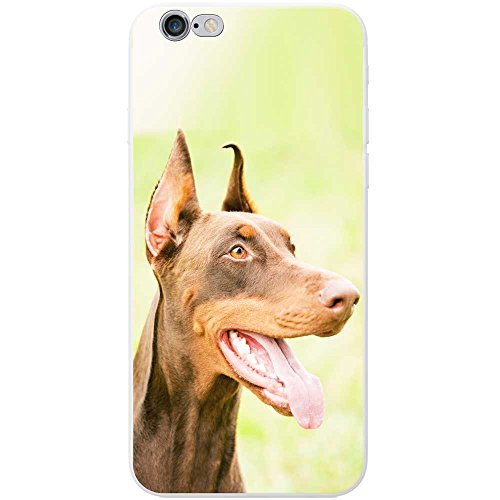 Nahaufnahme eines braunen Dobermanns Hartschalenhülle Telefonhülle zum Aufstecken für Apple iPhone 7 (Mouth Apple Happy)