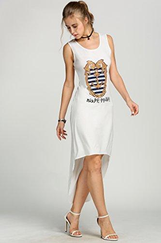 ZEARO Damen Casual unregelmäßig ärmellos Minikleid Sommerkleid Strandkleid Partykleid Weiß