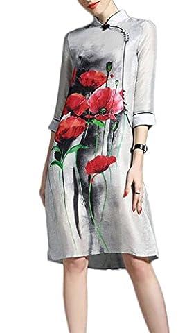 Bigood Robe Chinoise Femme Manches 3/4 Grande Taille Mariage Soirée