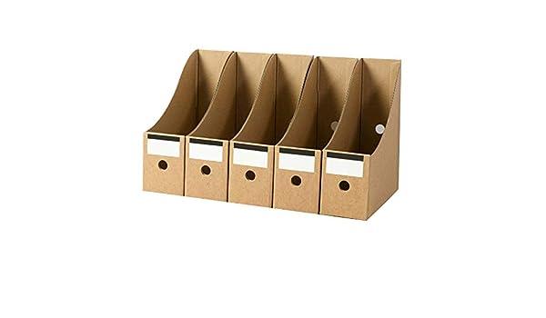 SNOWINSPRING Stationery Storage Box Kraft Paper Magazine Document Rack Desk Organiser School Paperwork Office File Holder Foldable