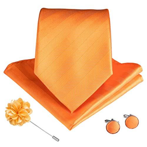 9 Styles Orange Gestreifte Plaids Paisley Herren Krawatten Mit Manschettenknöpfen Brosche Seidenkrawatte Ldnx0074