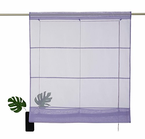 Myhome - tenda a rullo xanten trasparente con passante (1 pezzo), viola/lavanda, dimensioni: l/b: 155/80 cm