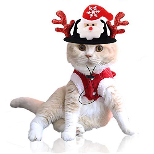 DingLong Weihnachtsmütze Hat für Katzen und Hunde Haustiere, Einstellbar, Geweih Mütze Haustier Kostüm für Kleintiere Festlich Deko Christmas Antler