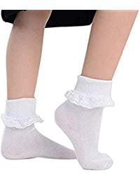 2 Paar Mädchen Kniestrümpfe Rüschen Rüsche Socken Strümpfe 3-11 Jahre Set