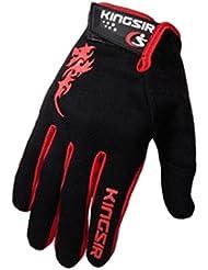 Panegy - Guantes Deportivos de Bicicleta Ciclismo deportes con dedos completos para Hombres - M - negro