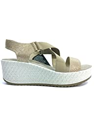 ENVAL SOFT 7998 PLATINO Scarpa donna sandalo zeppa pelle made in Italy d8cff3fab36