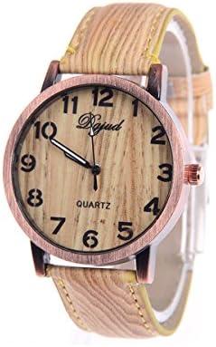 Reloj de pulsera - SODIAL(R)Reloj de pulsera unisex de madera de grano de banda de cuero de imitacion de tipo A