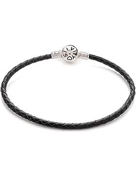Silvity Damen Armband Beads und Charm Farbe: Schwarz 106807-20