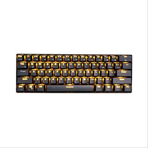 PMFSWired Drahtlose Mechanische Gaming-Tastatur 61 Tasten Bluetooth 3.0 Blauer Schalter mit Hintergrundbeleuchtung WiederaufladbarSchwarz (Gelbe LED) -