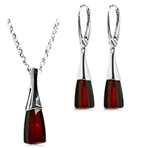 Black Cherry Amber Sterling Silver Contemporary Leverback Earrings Necklace 46 cm Set