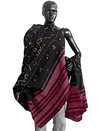 DollsofIndia Tie and Dye Black with Maroon Border Shawl - 36 x 88 inches (LE36)
