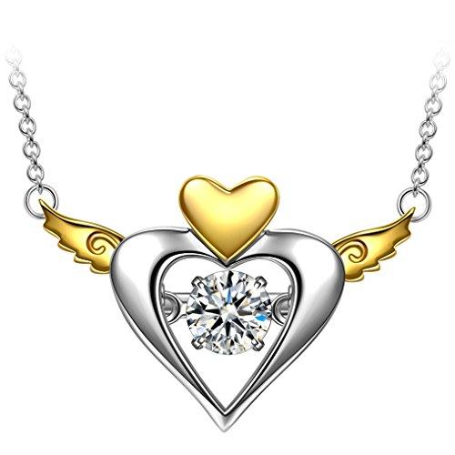Muttertagsgeschenke Anhänger Halskette Dancing Heart Freies Herz Damen Kette Silber 925 Anhänger Halskette Schmuck Geschenk für Valentinstag Muttertag Geburtstag Abschluss Verlobung Jubiläum