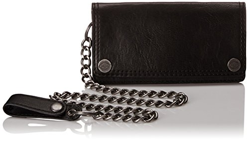 Dickies Men's Trucker Wallet with Chain,Black with Snap On (Black Chain Wallet)