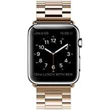 Correa Apple Watch 42mm Acero Inoxidable Repuesto de Pulsera para iWatch con Metal Corchete, LeeHur Correa de Reemplazo de Apple Watch para iWatch Series 1 / 2 / 3 , Dorado