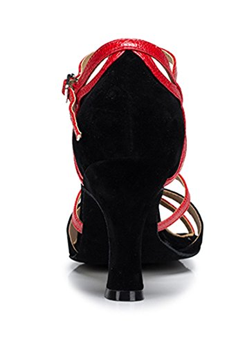 TDA , Peep-Toe femme 7.5cm Heel Black Red