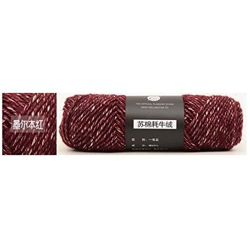 LVJA Kammgarn Yarn Yak Cashmere Wolle Garn Wolle Garn Gestrickte Wolle Schals für Männer und Frauen (03 Melbourne Red)