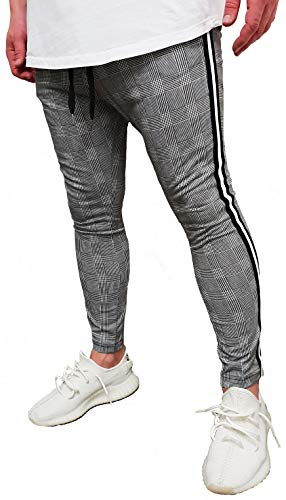 Herren Jogger Jogginghose Seitenstreifen Risse Destroyed Herrenjeans Biker Jeanshose Stretch Vintage Neu Blau Skinny Hose röhre Shirt eng hellblau Denim Tee Jeans röhrenjeans (M (Etikett L), Grau)