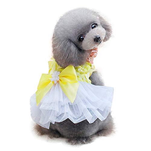 (Hawkimin mops Pullover Dogbaby Entzückender Welpenrock Kleidung Bogen-Knoten-Krawattenspitze Kleid für kleine Haustiere)