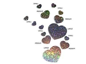 Glitter Love Heart adesivi da parete, decalcomania, grafica, adesivi, glitter argento (8x 45mm)