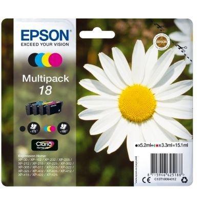 Epson T1806 Multipack - Kit de cartuchos de tinta válido para EPSON Expression Home XP-425 / XP-422 / XP-415 / XP-412 / XP-325 / XP-322 / XP-315 / XP-312 / XP-225 / XP-215 / XP-212 / XP-405WH / XP-405 / XP-402 / XP-305 / XP-302 / XP-30 / XP-205 / XP-202 / XP-102
