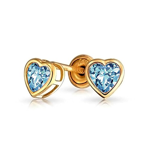 Bling Jewelry 14K Simulated Blue Topaz CZ Heart Baby Screw Back Studs