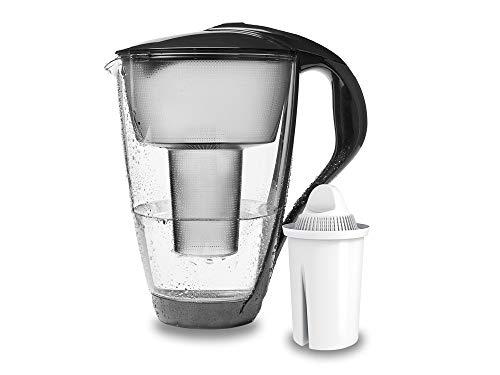 PearlCo - Glas-Wasserfilter (anthrazit) mit 1 classic Filterkartusche - passt zu Brita Classic