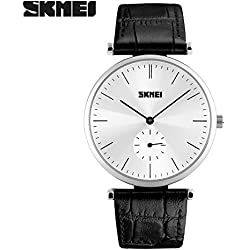 Good Quality leather strap watch quartz movement watch is 30 meters waterproof wristwatch zinc alloy environmentally friendly non-toxic vacuum plating Case(Black strap-Silver shell)