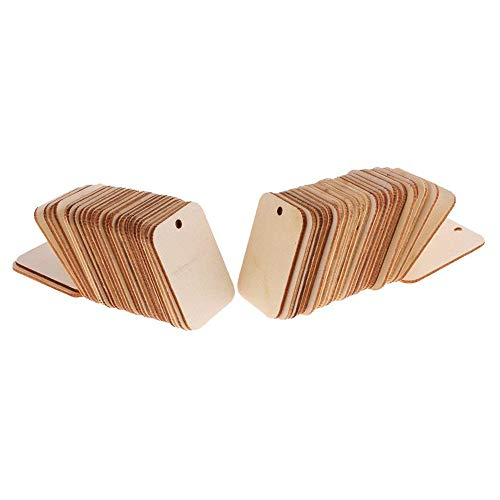 ForuMall 50pcs Wooden Rectangle Craft Shape Tag Embellishment for Craft with Rope
