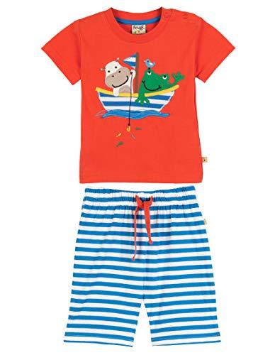 Frugi Baby- und Kleinkind Set aus T-Shirt und kurzer Hose aus weicher Bio-Baumwolle, GOTS, Verschiedene Motive (18-24 Monate, Boot) -
