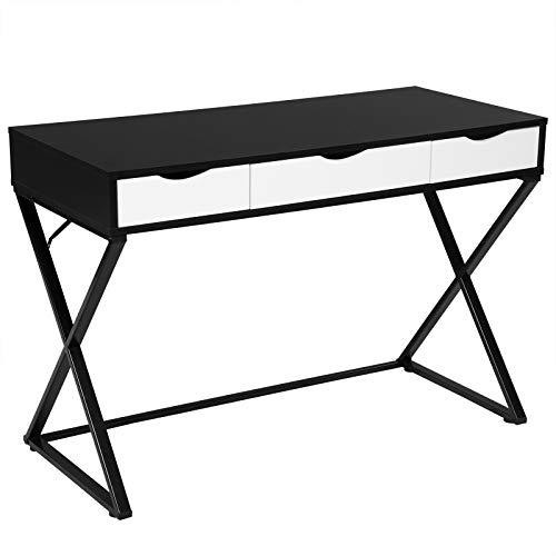 WOLTU® Schreibtisch TS40sz Computertisch Bürotisch Arbeitstisch PC Laptop Tisch, in Melamin, mit 3 Schubladen, Gestell aus Stahl, 110x50x75cm(BxTxH), Holz, Schwarz -