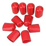CNBTR weichen Gummi Schraube Gewinde Displayschutzfolie Vinyl rund PVC-Schlauch Endkappen Gummi Finisher Rohr-Stop 10 Stück (12 mm, rot)