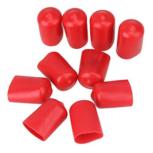 cnbtr weichen Gummi Schraube Gewinde Displayschutzfolie, Vinyl rund PVC-Schlauch Endkappen Gummi Finisher Rohr-Stop 10Stück (12mm, rot)