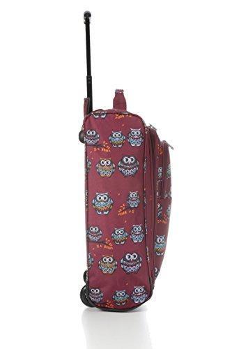 "21 "" / 55 centimetri Nero avanti leggero Cabin Trolley Borsa a mano ( Dotty Cani Raspberry ) Owl Borgogna"