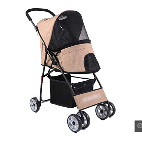 Fahrradanhänger Buggy Hund Buggy Pet Travel Buggy Pet 4 Wheels Travel Stroller Holder Reisebett Kleine Klappbuggys (Color : Brown, Size : 72 * 44 * 94cm)