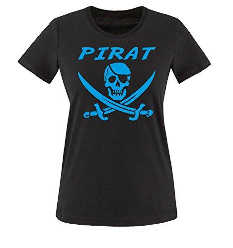 (PIRAT KOSTÜM -Damen T-Shirt Schwarz/Blau Gr. M)