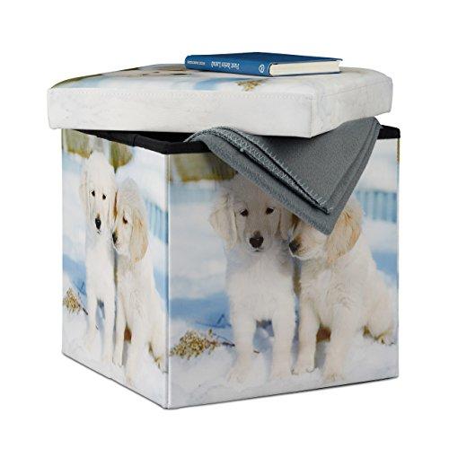 Relaxdays Baúl Almacenaje Pequeño Cachorros, Piel sintética, 38 x 3