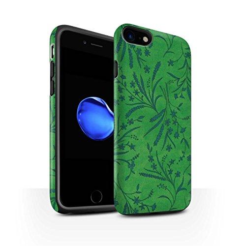 STUFF4 Matte Harten Stoßfest Hülle / Case für Apple iPhone 8 / Blau/Rosa Muster / Weizen Blümchenmuster Kollektion Grün/Blau