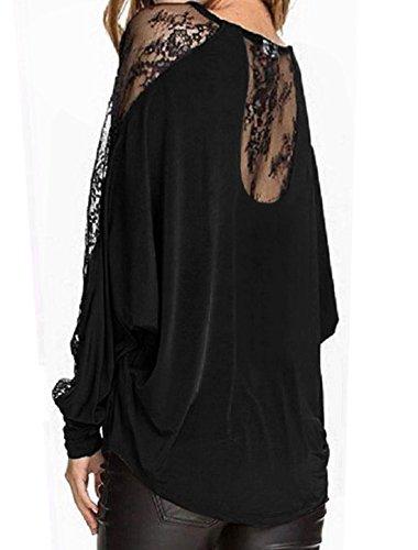 sourcingmap Femme Translucide Lacets Manches chauve-souris Chemisier Noir
