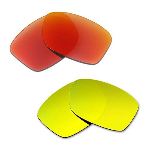 HKUCO Mens Replacement Lenses For Oakley Jupiter Squared Red/24K Gold Sunglasses