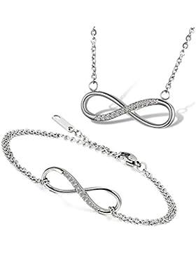 Flongo 2 Stück Edelstahl Armband Armreif Halskette Anhänger Schmuckset CZ Zirkon Zirkonia Silber Infinity Unendlichkeit...