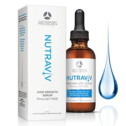 Advanced Trichology NutraViv Hair Growth Serum For Thinning Hair For Women and Men - natural DHT Blockers, Azelaic Acid, Green Tea, B Vitamins - Minoxidil FREE -For All Hair Types - 4-6 Week Supply