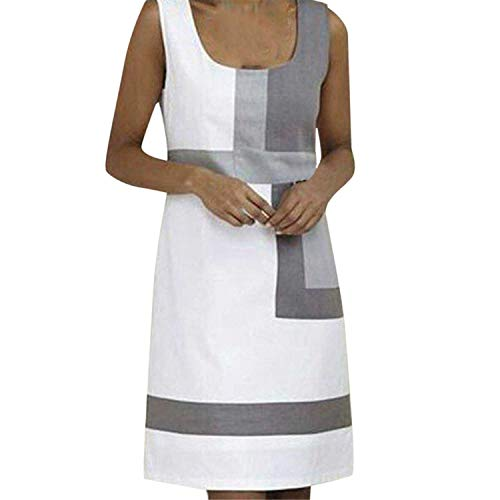 DQANIU ✅Damen Kleid, Damen Casual Shift Geometric Print Kleid U-Ausschnitt ärmellose Minikleider - Shift-bluse
