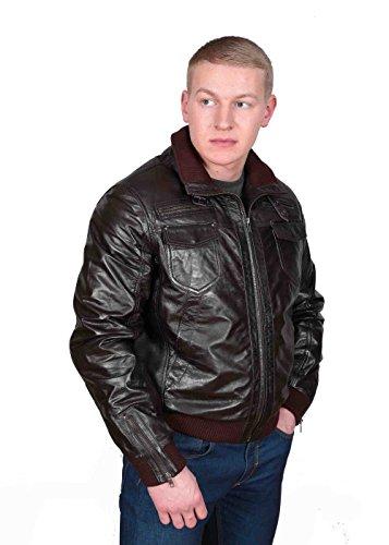 Herren Gepaßte Bomber Lederjacke Designer weiche hochwertige Mantel George Braun - 3