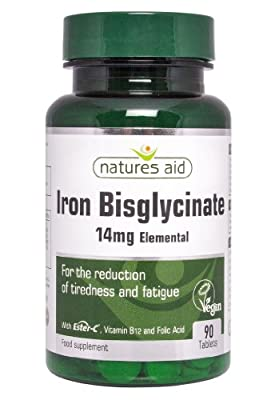 Natures Aid Iron Bisglycinate 90 Tablets by NAVX2