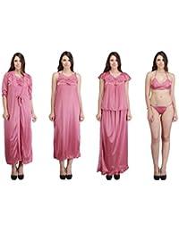 Crazeis Women's 6-Piece Satin Nighty (Peach Puff_Free Size)