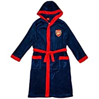 Get Wivvit Boys Arsenal AFC Football Fleece Hooded Dressing Gown Bathrobe Sizes from 3 to 6 Years Blue