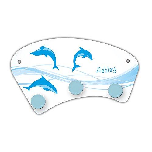 Wand-Garderobe mit Namen Ashley und schönem Delfin-Motiv für Mädchen - Garderobe für Kinder - Wandgarderobe -