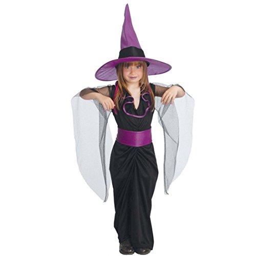 Kinderkostüm Zauberin L 142 - 148 cm 10 - 12 Jahre Kostüm Mädchen dunkle Fee Halloweenkostüm Magierin Outfit Hexe Kinderkarneval Hexenkleid Kinderfasching (Dunkle Fee Kostüme Für Mädchen)