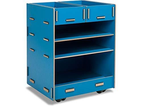 Modulor Kinder-Rollcontainer aus beschichtetem MDF, Schreibtisch Rollschrank (BxHxT: 38 x 49 x 34 cm) mit Zwei Schubladen und DREI Fächern, blau